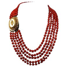 Exquisite 14K Gold Cannetille & 5 Strand Blood Red Coral Bead Necklace 101.6 gr