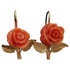 18K Gilt Carved Coral Rose Earrings Pierced Wires - Red Tag Sale Item