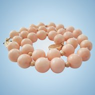 Dreamy 14K Gold Large 11.6-11.9mm Bead Pink Coral Necklace - 80.7 grams