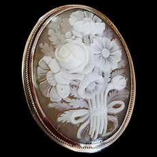 900 Silver Sardonyx Shell Cameo Floral Bouquet Brooch Pendant