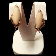 Elegant 14K Gold Angel Skin Coral Navette Cabochon Earrings Non-Pierced Clips