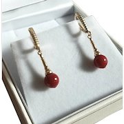 Superb 14K Yellow Gold Oxblood Red Coral Bead Drop Earrings