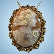 Elegant 14K Goddess Flora Shell Cameo Diamond Habille Cultured Pearl Brooch Pendant