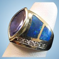 14K Gold Tanzanite Inlaid Black Opal Diamond Ring  9.6 grams