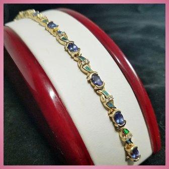 14K Gold Tanzanite Inlaid Black Opal & Diamond Tennis Line Bracelet 16 grams