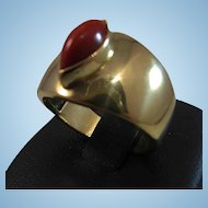 18K Gold Oxblood Red Coral Cabochon Cigar Band Ring sz 7