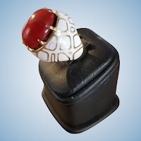 Dramatic 14K Gold & Enamel Oxblood Red Coral Ring 19.7 grams