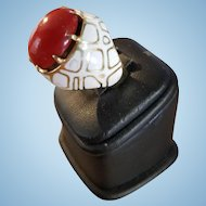 Dramatic 14K Gold & Enamel Valentine Red Coral Cabochon Ring 19.7 grams