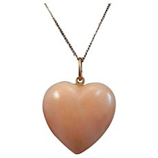 """14K Gold 3/4"""" Carved Coral Heart Pendant and 18"""" 14K Chain Necklace 5.4 grams"""