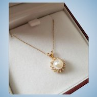 14K Gold Cultured Pearl Diamond Drop Pendant Necklace 14K YG Chain 19.5""