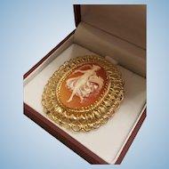 Mid Century 14K Gold Full Body Dancing Muse Shell Cameo Brooch Pendant 11.5 grams