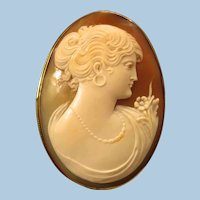 "Edwardian 1-7/8"" 10K European Beauty Shell Cameo Brooch 8.4 gr"