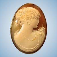 """Edwardian 1-7/8"""" 10K European Beauty Shell Cameo Brooch 8.4 gr"""
