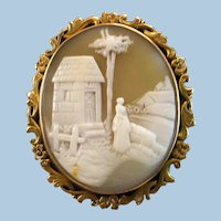 Large 10K Gold Rebecca At the Well Scene Shell Cameo Brooch 11.5 grams