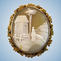 Victorian 10K Rebecca At the Well Scene Shell Cameo Brooch