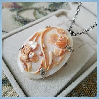 """Floral Garden Shell Cameo Brooch Pendant 925 Silver with 24"""" chain"""