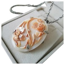 "Floral Garden Shell Cameo Brooch Pendant 925 Silver with 24"" chain"