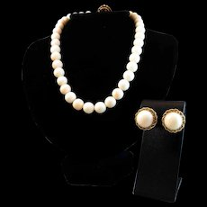 14K White Angel Skin Coral Bead Necklace & 14K Cabochon Earrings 90.1 grams