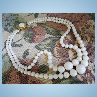 Gorgeous 18K Double Strand White Coral 4.8-13.8mm Bead Necklace