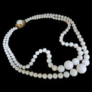 18K Double Strand White Coral Bead Necklace