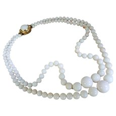 Gorgeous 18K Gold Double Strand White Coral 4.8-13.8mm Bead Necklace