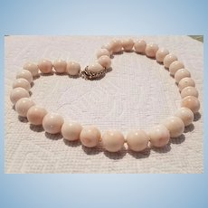 18K Gold Angel Skin Blush Coral 13.5mm Bead Necklace 114.5 Grams