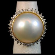 Enchanting 14K Gold Large Mabe Pearl & Diamond Halo Ring - 7.3 grams