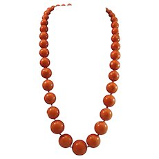 Magnificent 18K Gold Momo Coral Bead 10-18.3mm Necklace 120.3 grams
