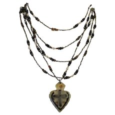 SAPPHIRE SACRED HEART! One of a Kind Bethlehem Holy Land Mop Flaming Sacred Heart Pendant, Cultured Seed Pearls,Umba Sapphires, Smoky Quartz, Rhinestone Wrap Artisan Necklace