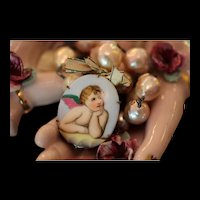 PRETTY n/PINK! BEAUTIFUL Victorian Hand Painted CHERUB CAMEO Pendant, Huge Cultured Baroque Pearls, Ribbon, Artisan Necklace