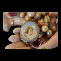 BLUE SKY CHERUB! GORGEOUS (Georgian Era 1714-1837) Hand Painted CHERUB CAMEO Pendant, 3 Strand Cultured Pearl Artisan Necklace