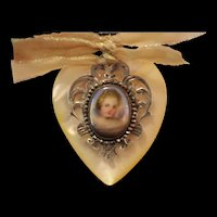 GOD,S TINIEST ANGEL!  Gorgeous RARE GEORGIAN ERA French Cut Steel Bead Framed Hand Painted Mop CHERUB CAMEO, Cultured Pearls, Angel Wings,Mop Sterling Heart Fob, Sterling Artisan Necklace