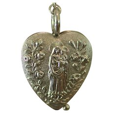GORGEOUS Rare French Nun Engraved Solid Silver Repousse SACRED HEART EX VOTO