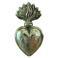 BEAUTIFUL FRENCH Engraved Solid Silver Small Flaming Sacred Heart EX VOTO