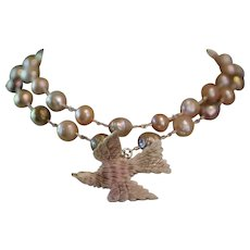 HOLY DOVE, One of a Kind RARE ST. ESPRIT Hand Carved Angel Skin Coral Dove Pendant, Cultured Baroque Kasumi Pearl ARTISAN Wrap Necklace