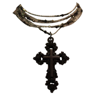 CROIX ROSE, One of a Kind RARE Large Victorian Gutta Percha ROSE CROSS, French Diamond Cut Steel Beads, Faceted Black Spinel and Pyrite Gemstones ARTISAN WRAP NECKLACE