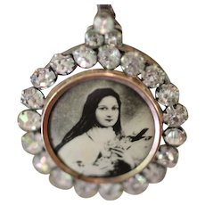LITTLE FLOWER, One of a Kind RARE  French Paste ST. TERESA Medal, Huge Cultured Baroque Kasumi Pearl Artisan Necklace