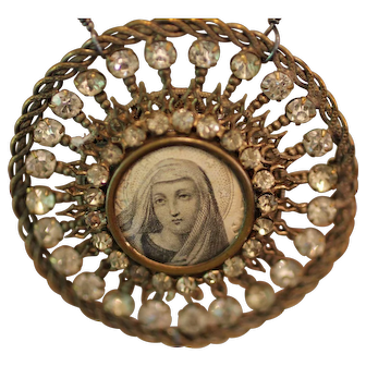 STARLIGHT, One of a Kind Antique FRENCH HOLY VIRGIN Prayer Card Victorian PASTE  Medallion LOCKET, Cultured Flameball PEARLS ARTISAN Necklace