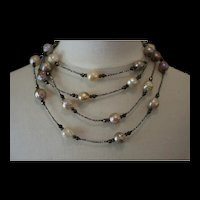 LUSTROUS LOVE 3, Antique FRENCH Diamond Cut STEEL BEADS, Cultured Baroque KASUMI Pearls, Pyrite Gem Artisan Wrap Necklace