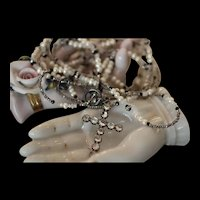 HELPING HAND, GEORGIAN SILVER FRENCH PASTE CROSS, Antique FRENCH Steel Beads, Cultured Seed Pearls, Moonstones, Black Spinels Artisan Wrap Necklace