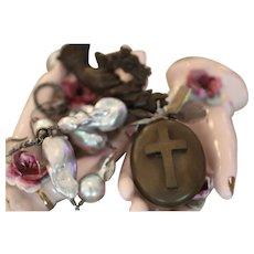 The MADONNA, Victorian Gutta Percha MEMENTO MORI Locket and Victorian HAND Brooch, Cultured Flameball PEARLS Artisan Necklace