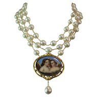 MY BLUE HEAVEN! One of a Kind RARE Hand Painted Porcelain ANGELS CAMEO,Triple Strand Baroque Cultured Kasumi Pearl Artisan Necklace