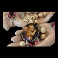 ANGE de FRANCAIS, STUNNING RARE (Georgian 1714-1837) Hand Painted ANGEL CAMEO, Sterling Fleur de Lis & Filligrees, Cultured KASUMI Pearl Artisan Necklace