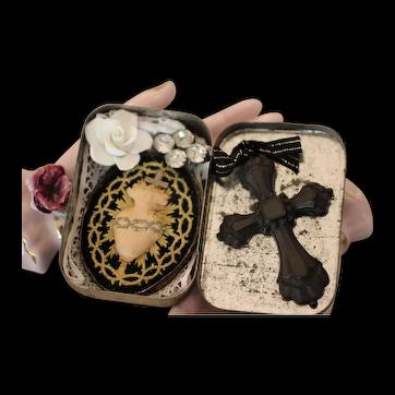 Antique 1800,s  French Nun SACRED HEART Ex Voto, Victorian Vulcanite CROSS ALTAR BOX