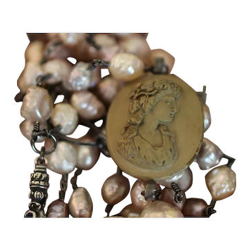 BACCHANTE! Beautiful Victorian Hand Carved LAVA CAMEO PENDANT, Cultured DRUZY PEARLS Triple Strand Artisan Necklace