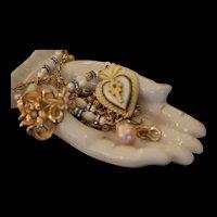 PILGRIM PRAYER, Victorian MOP BETHLEHEM SACRED HEART Pendant, Gilt Filligree Rosary, Antique GF Seed Pearl Brooch Artisan Rosary Necklace