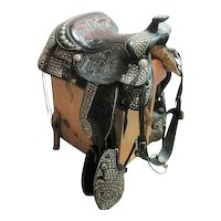 Extravagant Grand Parade Saddle Leather Tooled Steel Dees Design - Blevins Buckle