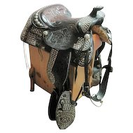Extravagant Grand Parade Saddle Leather Tooled Steel Dees Design - Blevins Buckle
