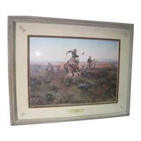 """""""A Bad One"""" by Charles Russell - Prof. Framed & Matted"""