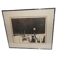 """Cape Cod"" Abstract Etching - Hourigan Black and White Professionally Matted and Framed"